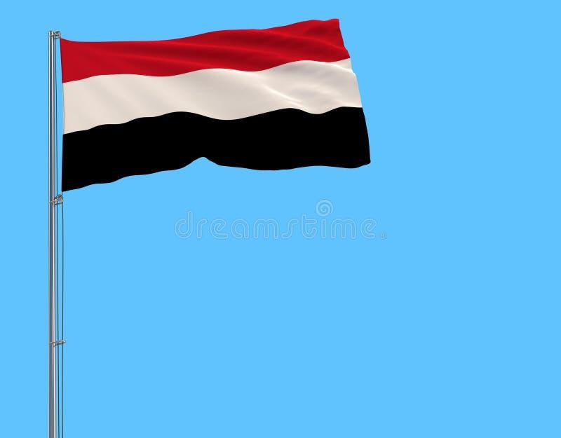 Drapeau du Yémen sur le mât de drapeau flottant dans le vent sur un fond bleu pur, rendu 3d illustration stock
