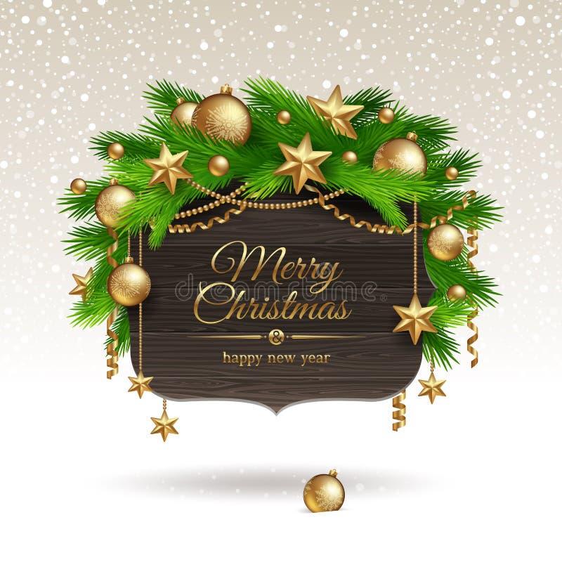 Drapeau en bois avec la décoration de Noël illustration de vecteur