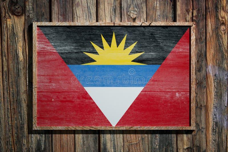 Drapeau en bois de l'Antigua-et-Barbuda illustration de vecteur
