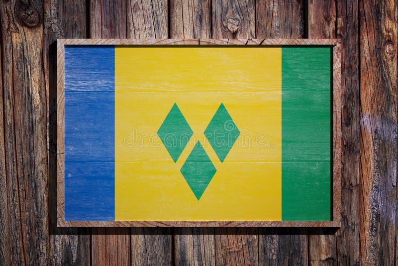 Drapeau en bois de Saint-Vincent-et-les-Grenadines illustration stock