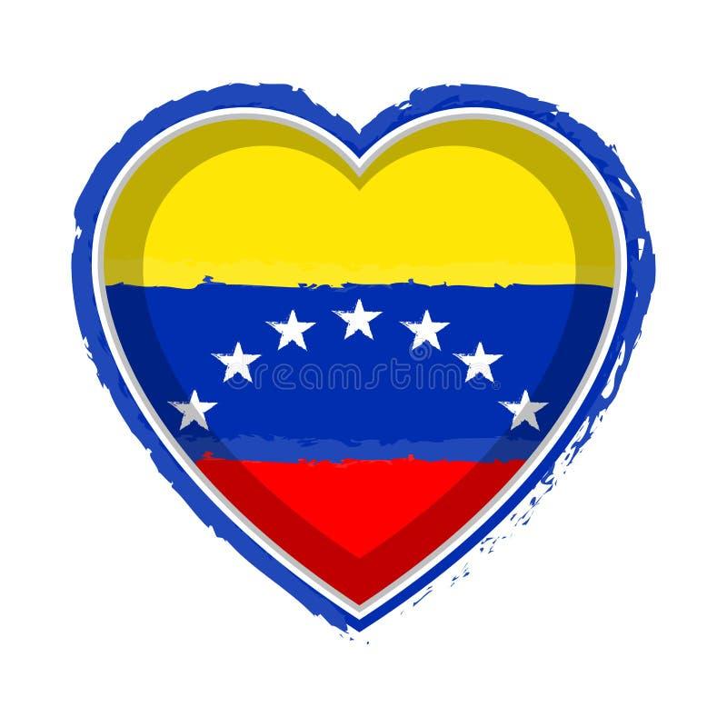 Drapeau en forme de coeur du Venezuela illustration de vecteur
