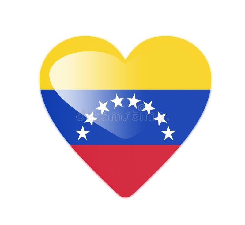 Drapeau en forme de coeur du Venezuela 3D illustration stock