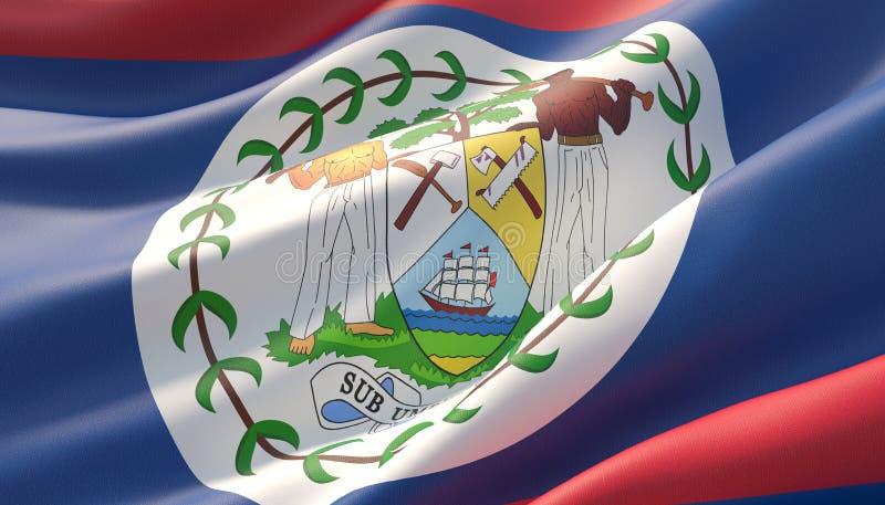 Drapeau en gros plan fortement détaillé ondulé de Belize illustration 3D illustration libre de droits