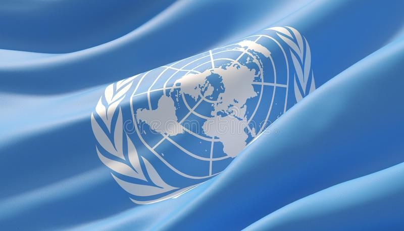 Drapeau en gros plan fortement détaillé ondulé des Nations Unies illustration 3D illustration de vecteur