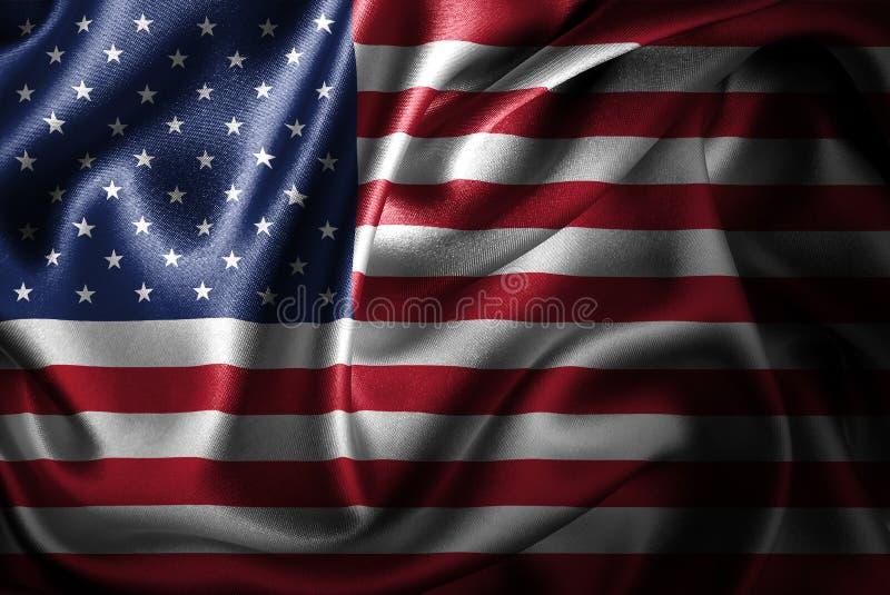 Drapeau en soie de satin des Etats-Unis illustration de vecteur