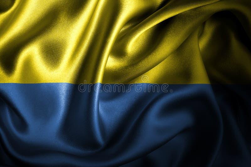 Drapeau en soie de satin de l'Ukraine illustration stock