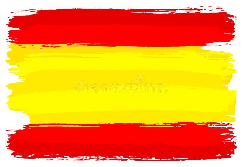 Drapeau espagnol peint avec des courses de brosse illustration de vecteur