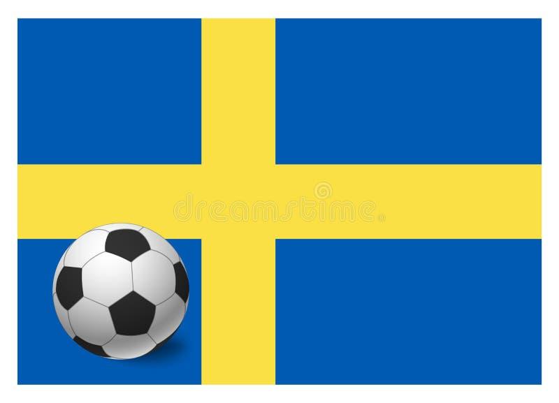 Drapeau et ballon de football de la Suède illustration stock