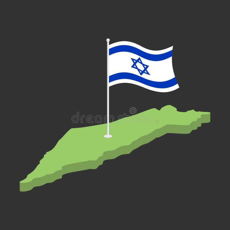 Drapeau et carte de l'Israël Ruban israélien de bannière Symbole juif de Sta illustration de vecteur
