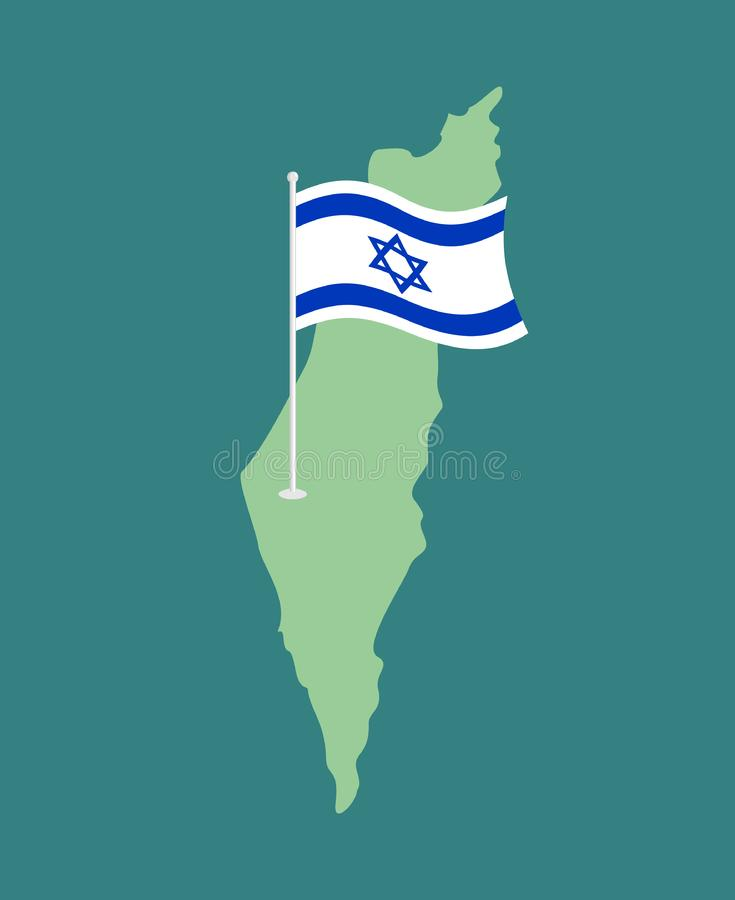 Drapeau et carte de l'Israël Ruban israélien de bannière Symbole juif de Sta illustration stock