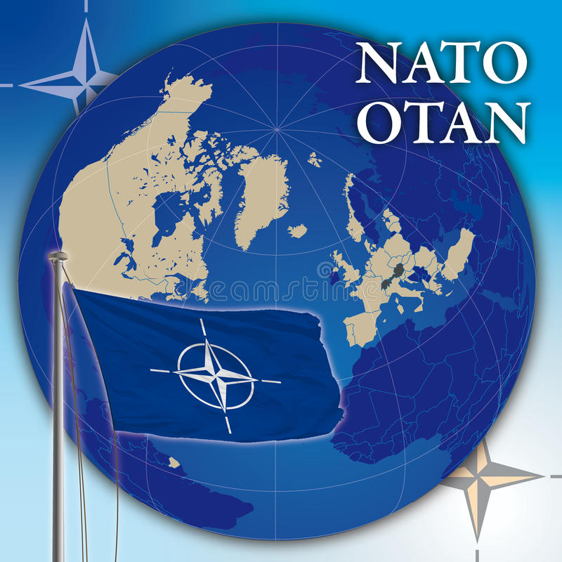 Drapeau et carte de l'OTAN illustration stock