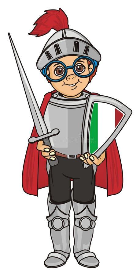 Drapeau et chevalier de l'Italie illustration de vecteur