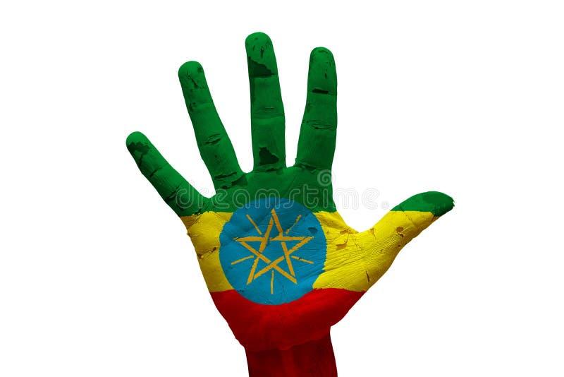 drapeau Ethiopie de paume photo stock