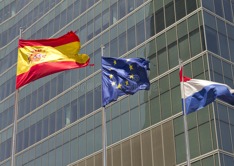 Drapeau européen, espagnol et français photo libre de droits