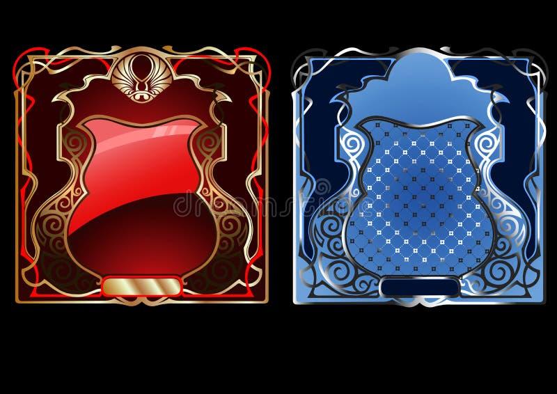 Drapeau fleuri d'or bleu et rouge. illustration de vecteur