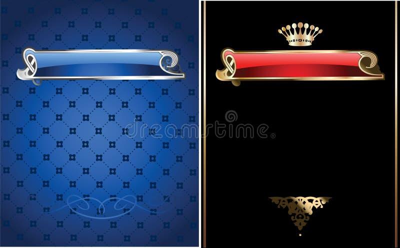 Drapeau fleuri de bleu et d'or. illustration stock