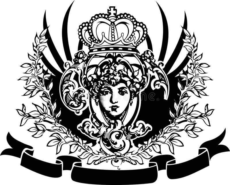 Drapeau fleuri de cru décoratif. illustration de vecteur