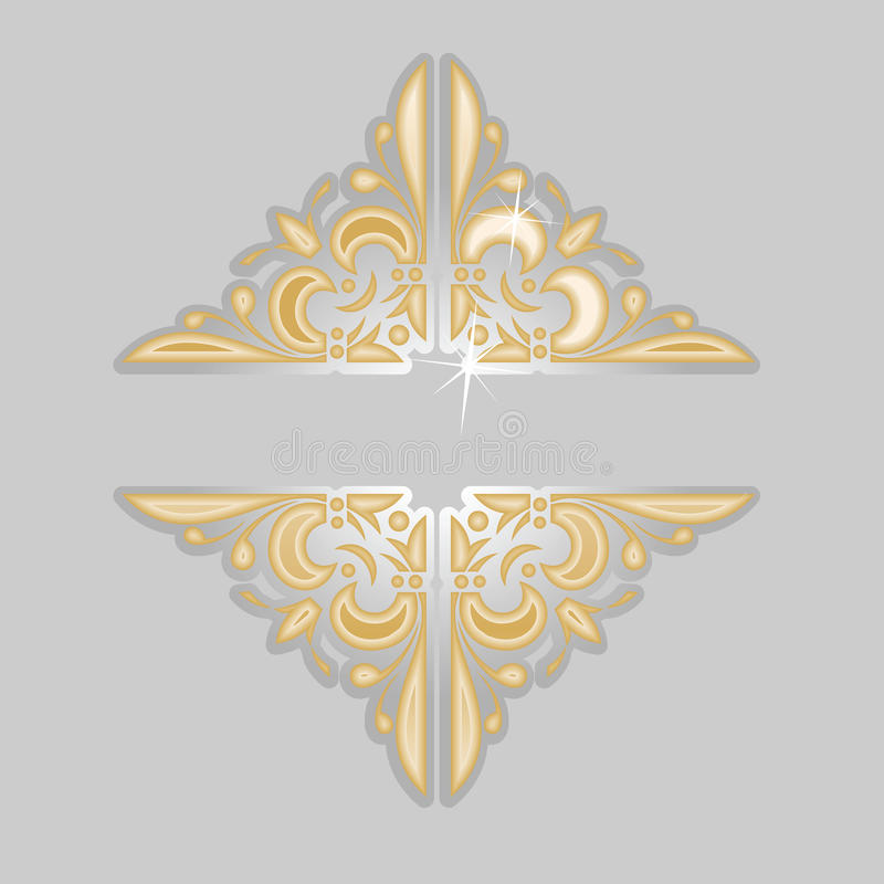 Drapeau fleuri de cru d'or décoratif d'argent. illustration de vecteur