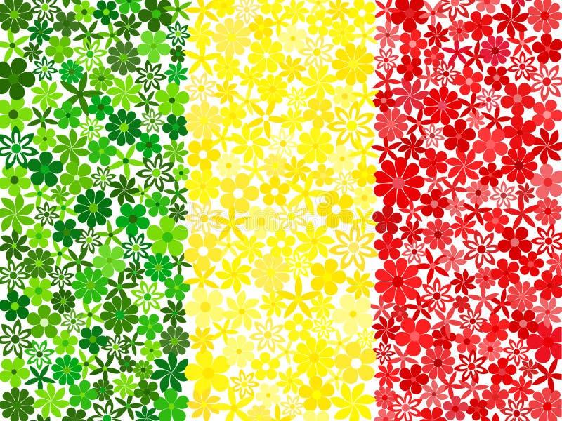 Drapeau floral de Malien de mosaïque illustration de vecteur