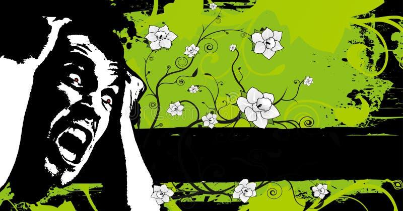 Drapeau floral grunge de crainte illustration de vecteur