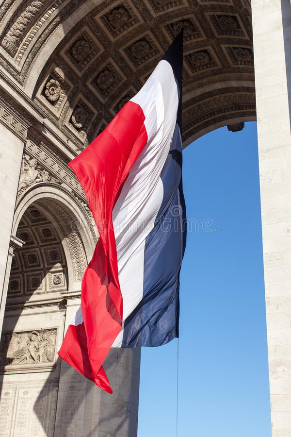 Drapeau français Arch. triomphal. photographie stock libre de droits