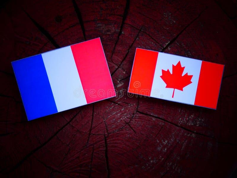 Drapeau français avec le drapeau canadien sur un tronçon d'arbre d'isolement photo stock