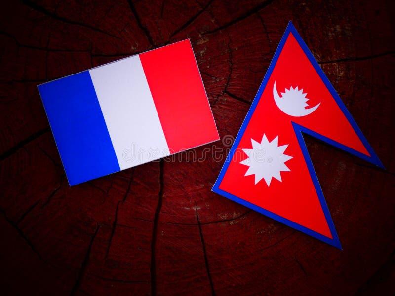 Drapeau français avec le drapeau de Nepali sur un tronçon d'arbre d'isolement photos stock