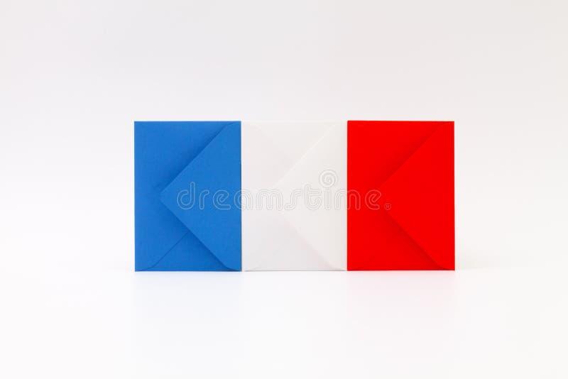 Drapeau français composé d'enveloppes images stock