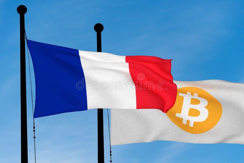 Drapeau français et drapeau de Bitcoin illustration libre de droits