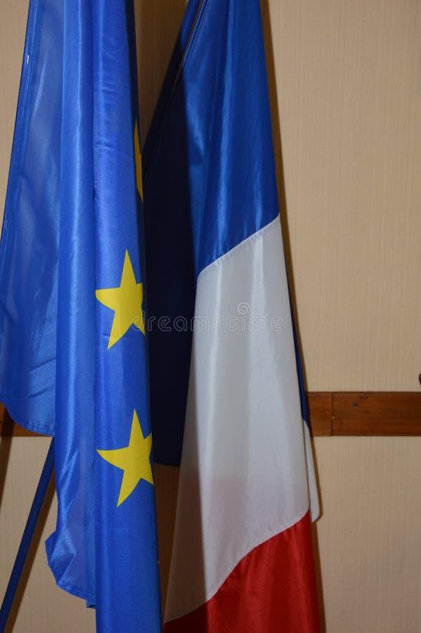 Drapeau français et européen de drapeau français photographie stock