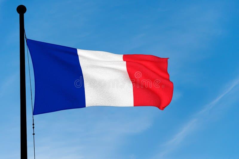 Drapeau français ondulant au-dessus du ciel bleu illustration stock