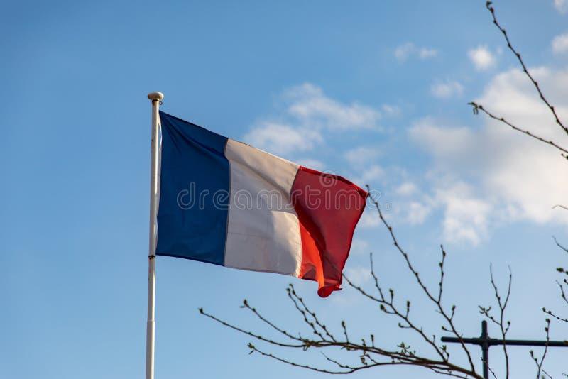 Drapeau français ondulant sur le vent photographie stock