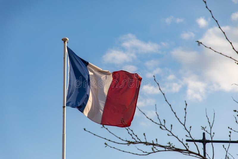 Drapeau français ondulant sur le vent photo stock