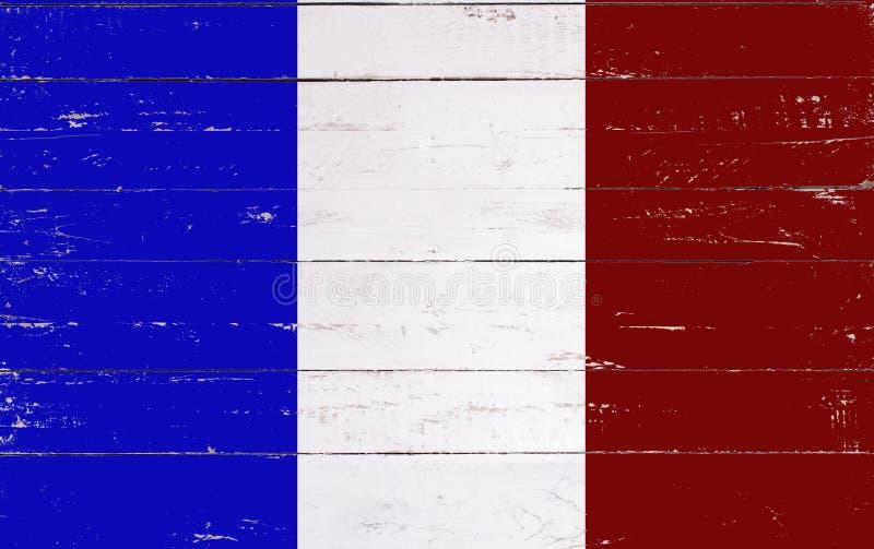 Drapeau français peint sur un conseil en bois photographie stock