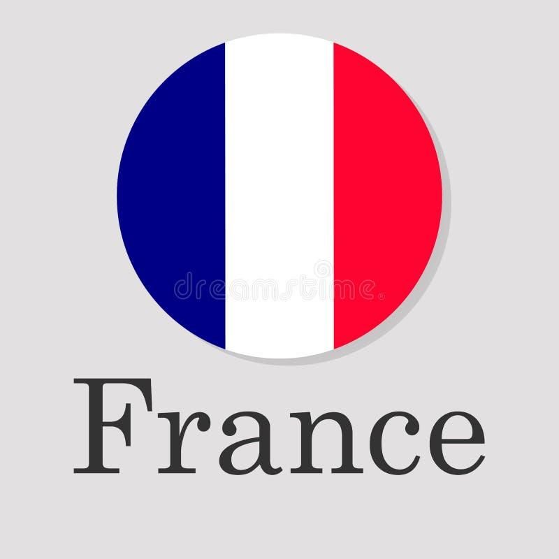 Drapeau français sous forme de cercle d'isolement sur un fond gris, l'inscription illustration libre de droits