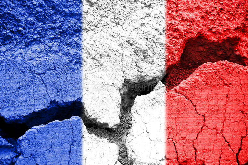 Drapeau français sur le fond criqué image libre de droits