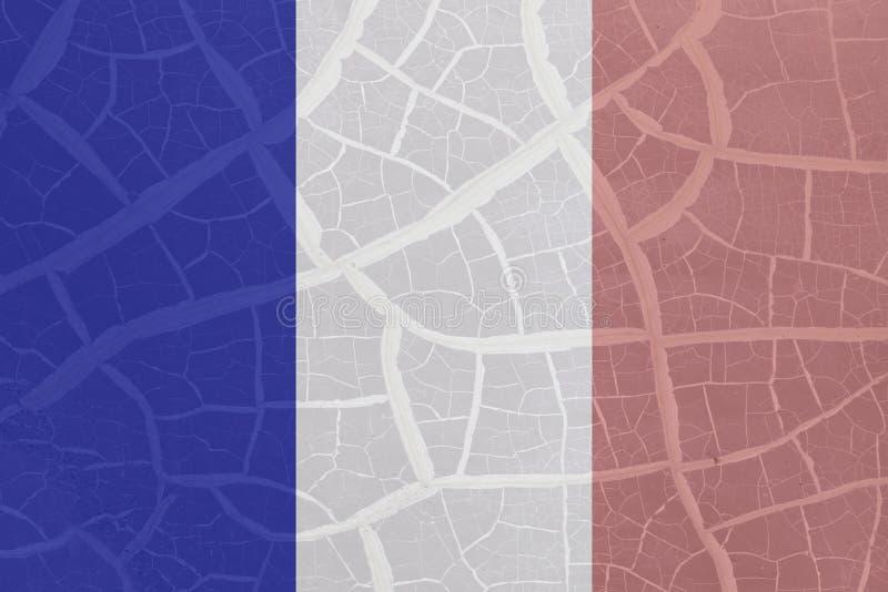 Drapeau français sur le fond de fente photos stock