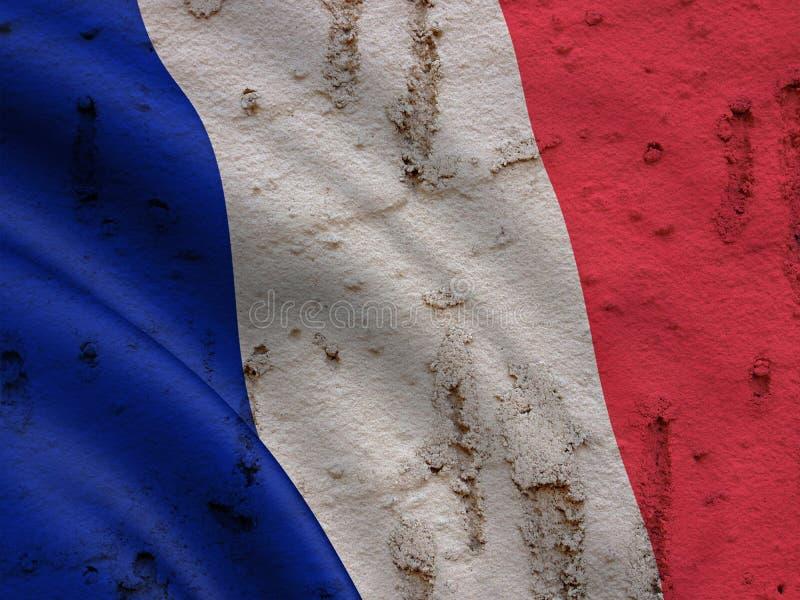 Drapeau français sur le fond grunge de mur photographie stock