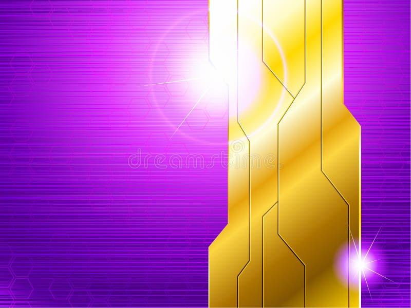 Drapeau futuriste horizontal de pourpre et d'or illustration stock