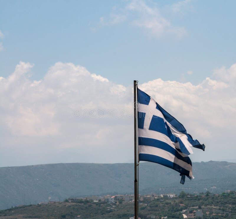 Drapeau grec sur le château de Rethymno, Crète, Grèce images stock