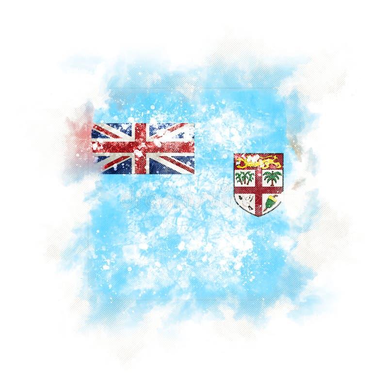 Drapeau grunge carré du Fiji illustration libre de droits