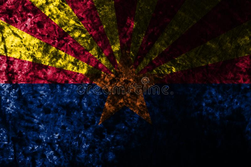 Drapeau grunge d'état de l'Arizona sur le vieux mur sale, Etats-Unis d'Amérique illustration de vecteur