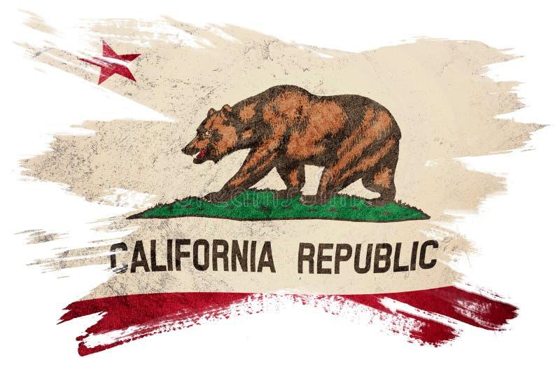 Drapeau grunge d'état de la Californie Course de brosse de drapeau de la Californie illustration de vecteur