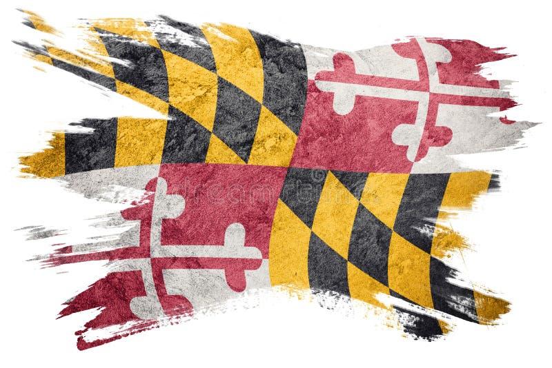 Drapeau grunge d'état du Maryland Course de brosse de drapeau du Maryland illustration de vecteur