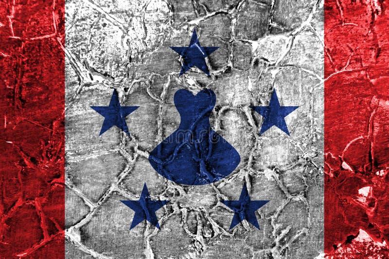 Drapeau grunge d'îles d'austral, îles en français la Polynésie française photo stock