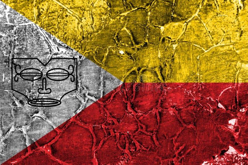 Drapeau grunge d'îles de Marquesas, îles en français la Polynésie française illustration stock