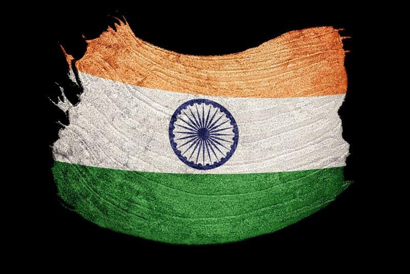 Drapeau grunge d'Inde Drapeau d'Inde avec la texture grunge Rappe de balai illustration de vecteur