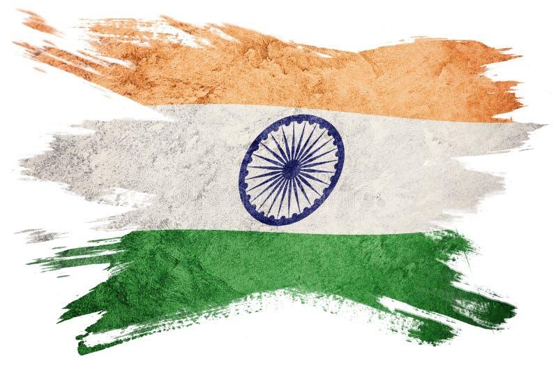 Drapeau grunge d'Inde Drapeau d'Inde avec la texture grunge Rappe de balai illustration libre de droits