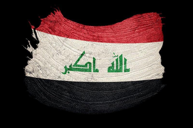 Drapeau grunge de l'Irak Drapeau de l'Irak avec la texture grunge Rappe de balai illustration libre de droits