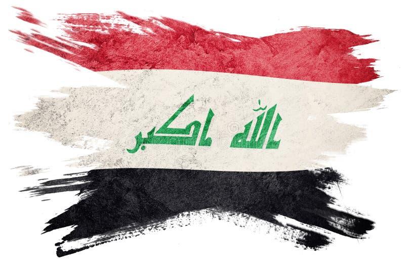 Drapeau grunge de l'Irak Drapeau de l'Irak avec la texture grunge Rappe de balai illustration stock